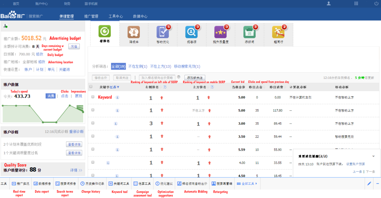 Homepage of Baidu interface