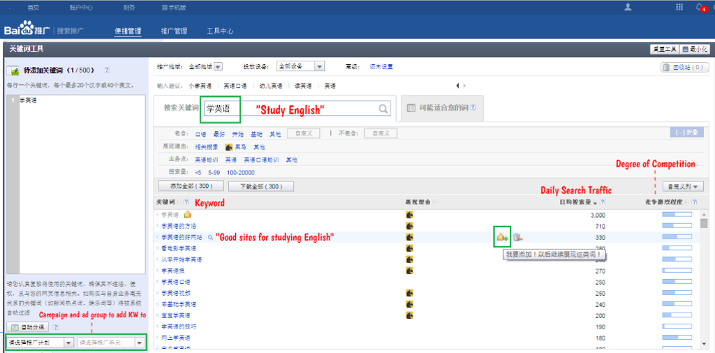 Keyword research page on Baidu